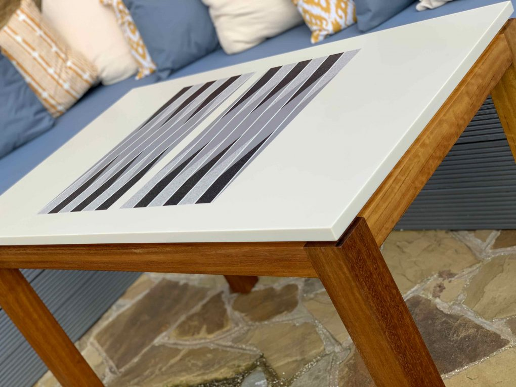 Gallagher corian outdoor backgammon table by bone club